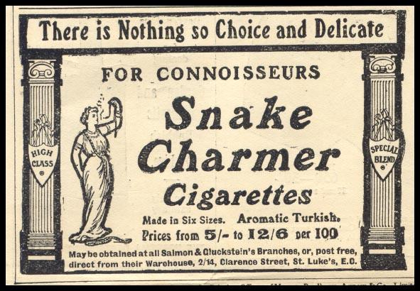 A vintage poster for Snake Charmer cigarettes